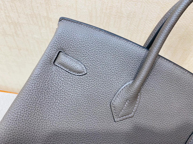 法国爱马仕 Hermes 铂金包 Birkin 35CM 石墨灰 银扣 纯手工定制
