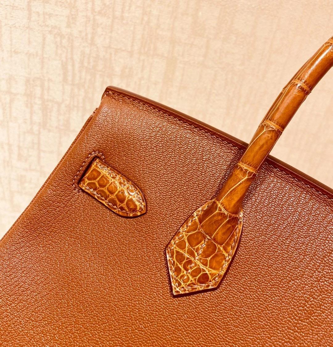 爱马仕 Hermes Birkin Touch 30CM 蜜糖棕色配鳄鱼盖头 银扣 纯手工缝制