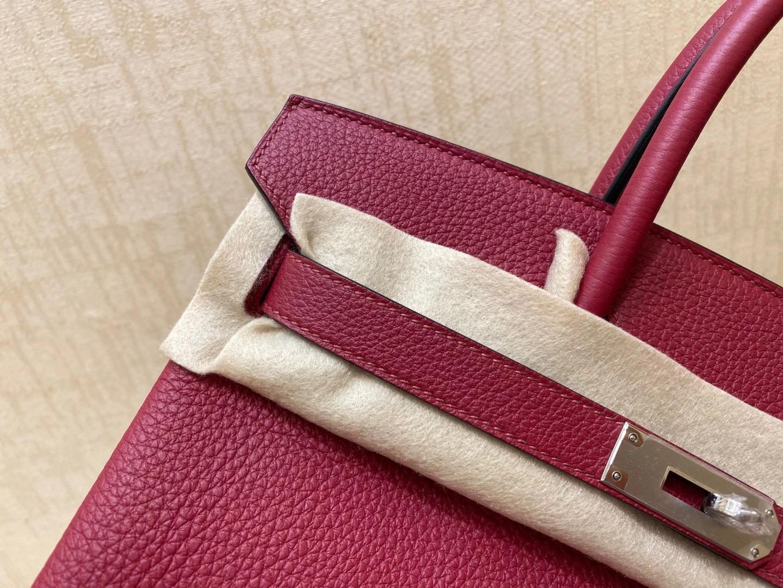 法国爱马仕 Hermes 铂金包 Birkin 30CM K1 石榴红 银扣 纯手工定制