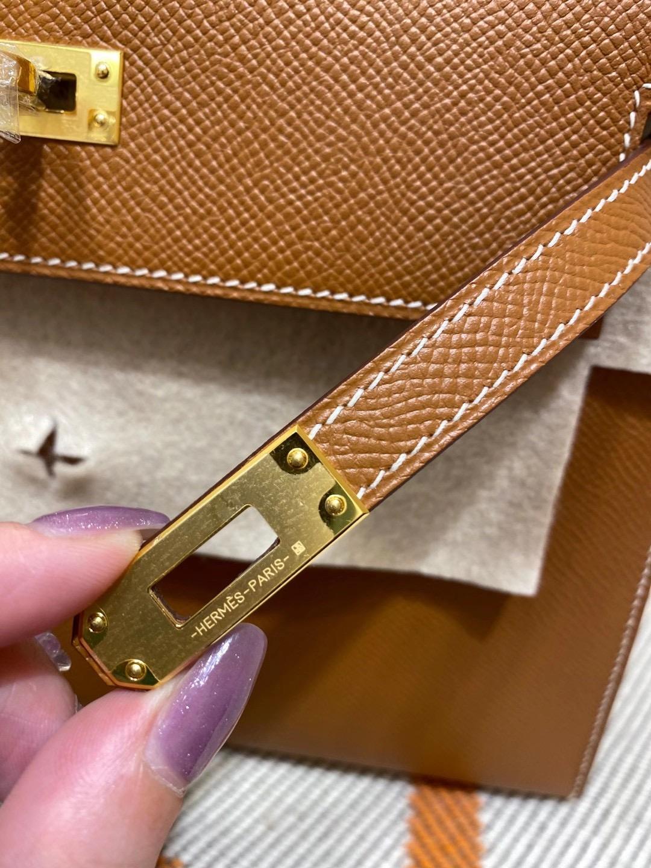 爱马仕凯莉包 Kelly 25CM Epsom CK37 金棕色 金扣 纯手工缝制 现货