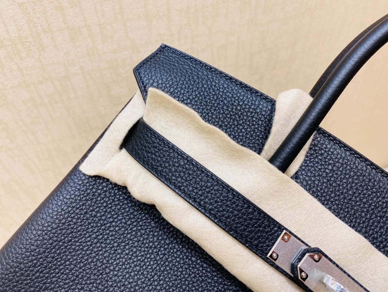 法国爱马仕 Hermes 铂金包 Birkin 30CM  黑色 银扣 纯手工定制
