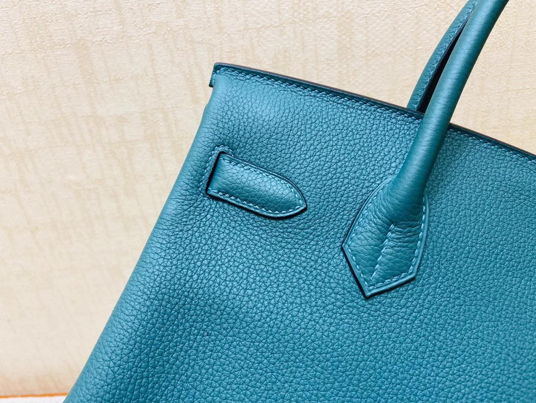 法国爱马仕 Hermes 铂金包 Birkin 30CM  Z6 孔雀绿 金扣 纯手工定制