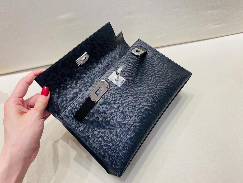 Hermès(爱马仕)miniKelly pochette 22cm  一代 银扣 epsom 黑色 顶级纯手工 现货