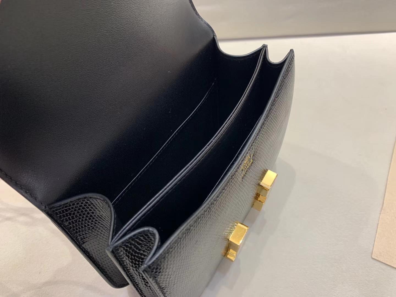 Hermès(爱马仕)Constance 空姐包 蜥蜴皮 黑色 顶级纯手工 金扣 19cm 现货
