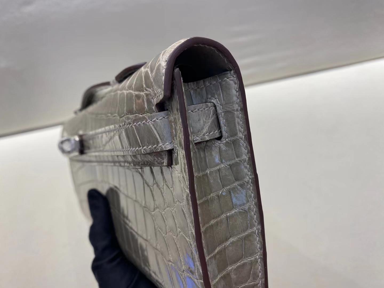 Hermès(爱马仕)Kelly cut 31cm 晚宴手包 鳄鱼 斑鸠灰 顶级纯手工 现货