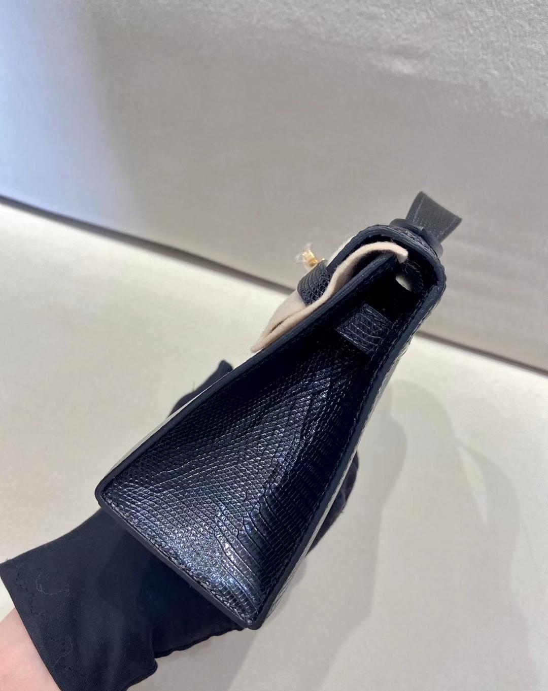 Hermès(爱马仕)miniKelly pochette 22cm  金扣 蜥蜴皮 黑色 顶级纯手工 现货
