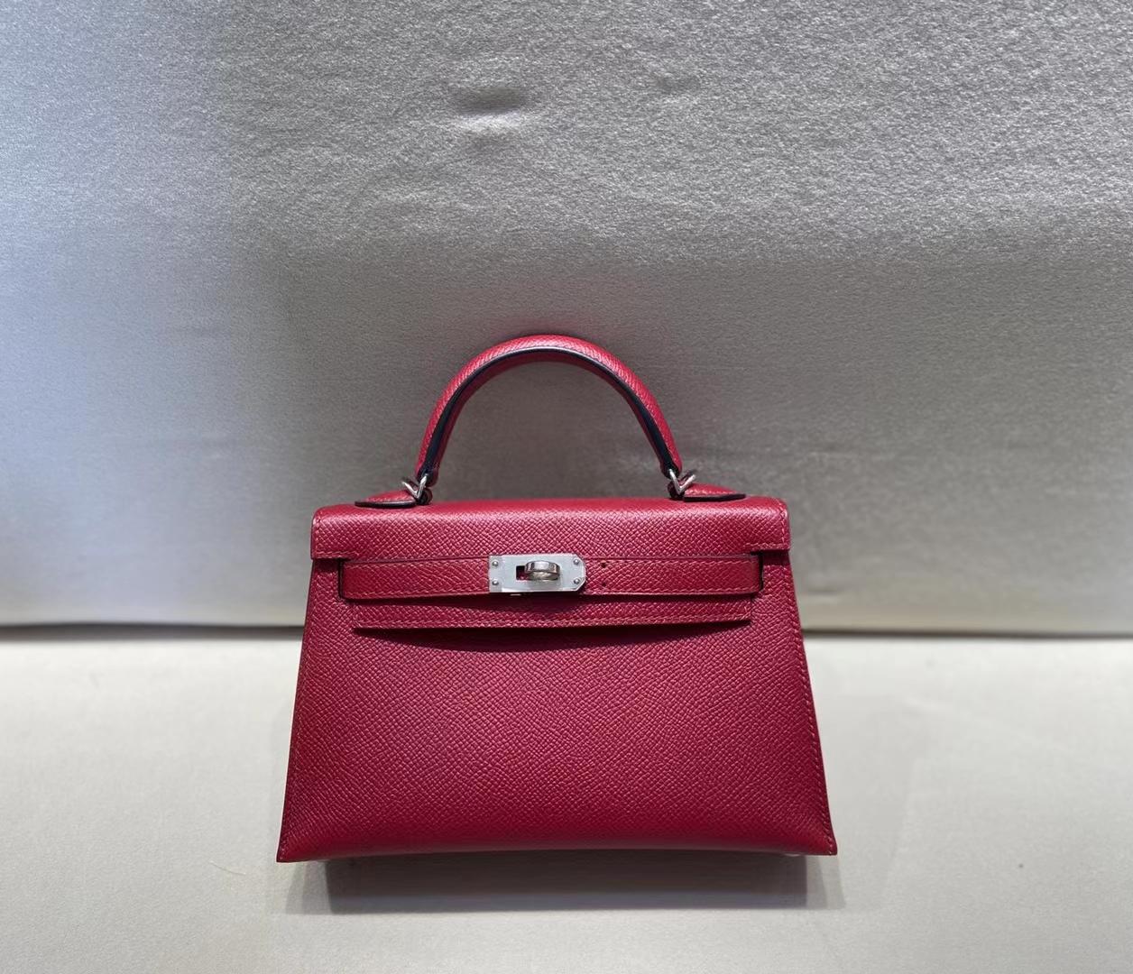 Hermès(爱马仕)miniKelly 二代 epsom 宝石红 银扣 顶级品质 现货