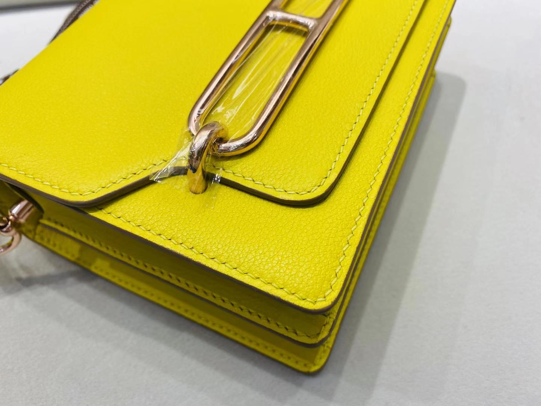 Hermès(爱马仕)Mini Roulis 猪鼻子 9o 那不勒斯黄 evercolor 顶级纯手工 19cm 浅金扣