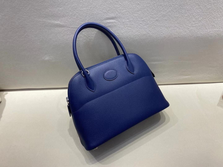 Hermès(爱马仕)bolide 保龄球包 宝石蓝 epsom皮 银扣 27cm 定制版型