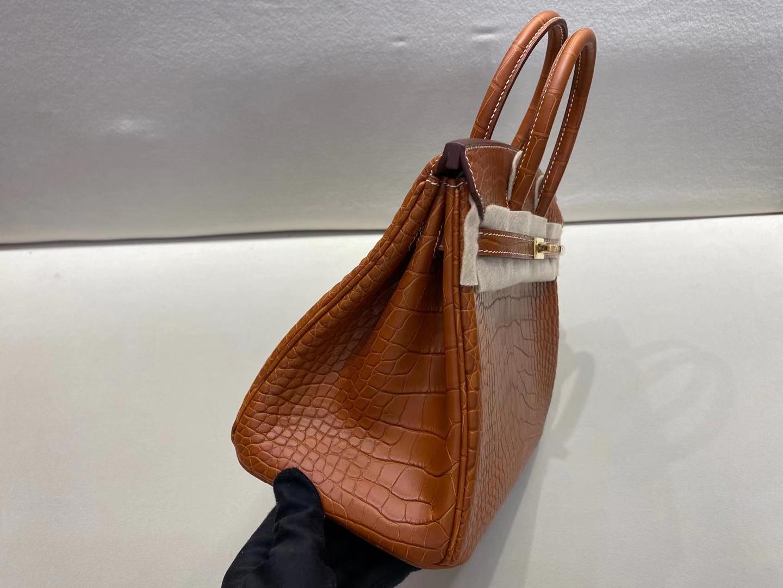 Hermès(爱马仕)birkin 25cm 金扣 美洲雾面鳄鱼皮 马鞍色 顶级纯手工 现货