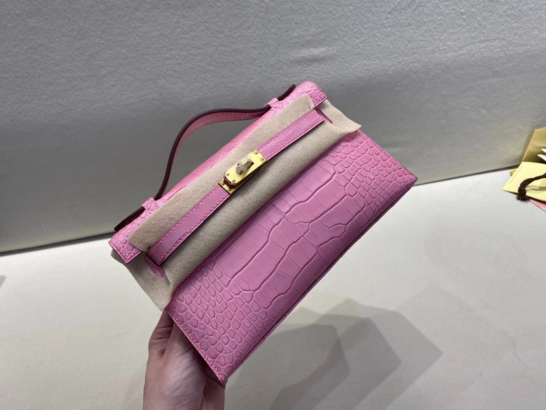 Hermès(爱马仕)miniKelly pochette 22cm  一代 金扣 雾面鳄鱼 樱花粉 3Q 顶级纯手工 现货