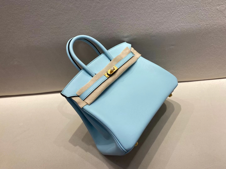 Hermès(爱马仕)birkin 25cm 金扣 swift 微风蓝 顶级纯手工 现货
