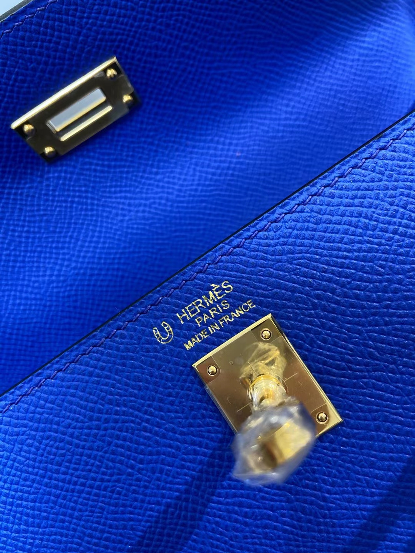 Hermès(爱马仕)Kelly 25cm 金扣 epsom 7t 电光蓝 拼 冰川灰 顶级纯手工