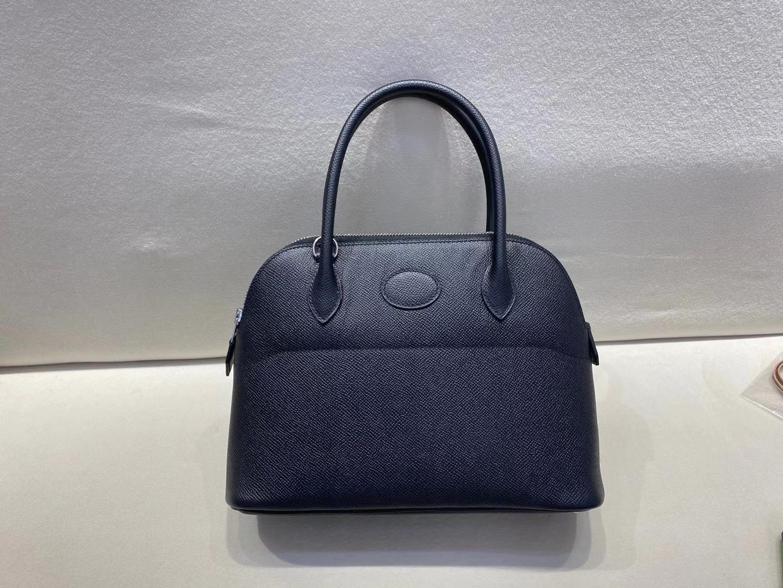 Hermès(爱马仕)bolide 保龄球包 黑色 epsom皮 银扣 27cm 定制版型