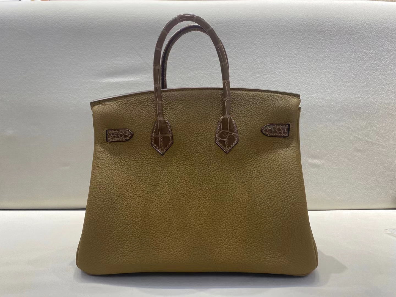 Hermès(爱马仕)birkin 25cm 金扣 touch 方块美洲鳄鱼 稻草灰拼芝麻色 顶级品质