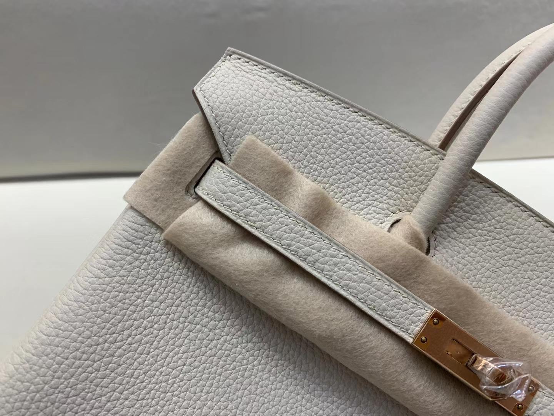 Hermès(爱马仕)birkin 25cm 玫瑰金扣 法国togo 奶昔白 顶级纯手工 现货