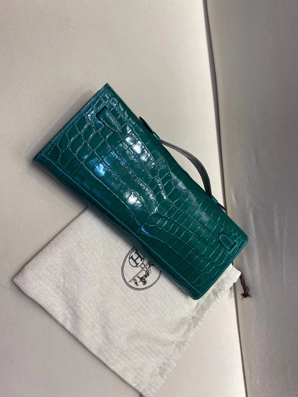 Hermès(爱马仕)Kelly cut 31cm 晚宴手包 鳄鱼 祖母绿 顶级纯手工现货