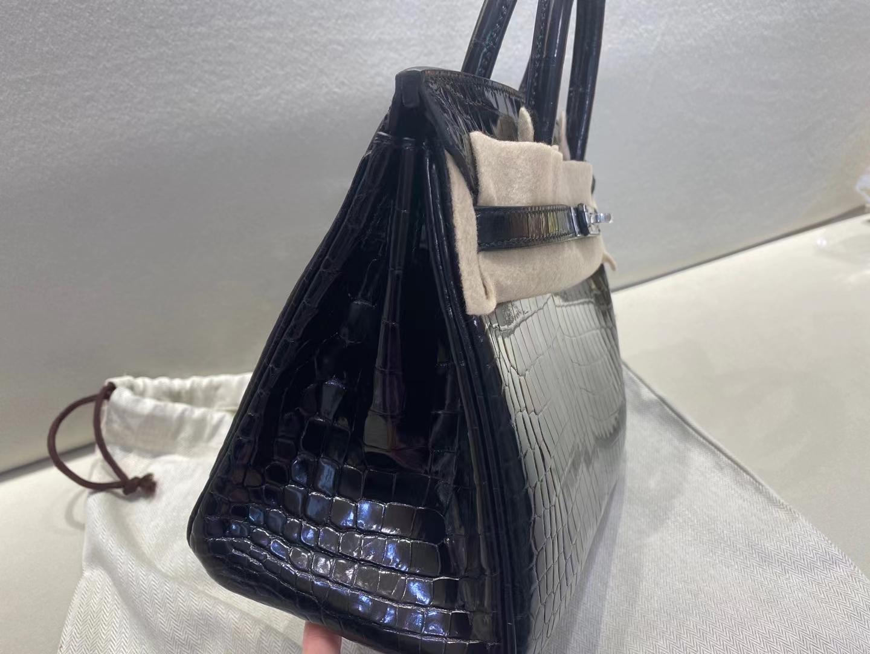 Hermès(爱马仕)Birkin 25cm 亮面两点鳄鱼 Shiny nilo crocodile 黑色 银扣 现货
