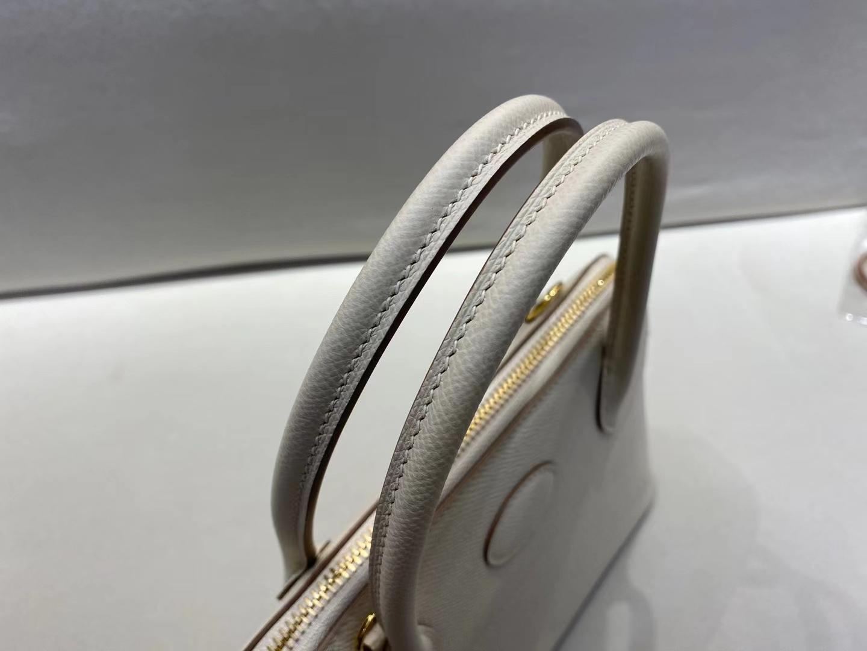 Hermès(爱马仕)bolide 保龄球包 奶昔白 epsom皮 金扣 27cm 定制版型