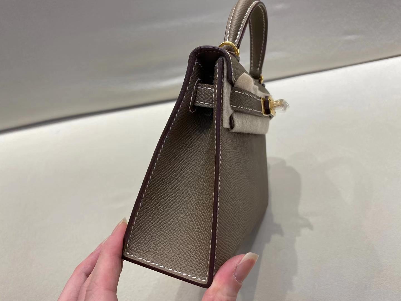 Hermès(爱马仕)miniKelly 二代 金扣 epsom 大象灰 顶级纯手工 现货