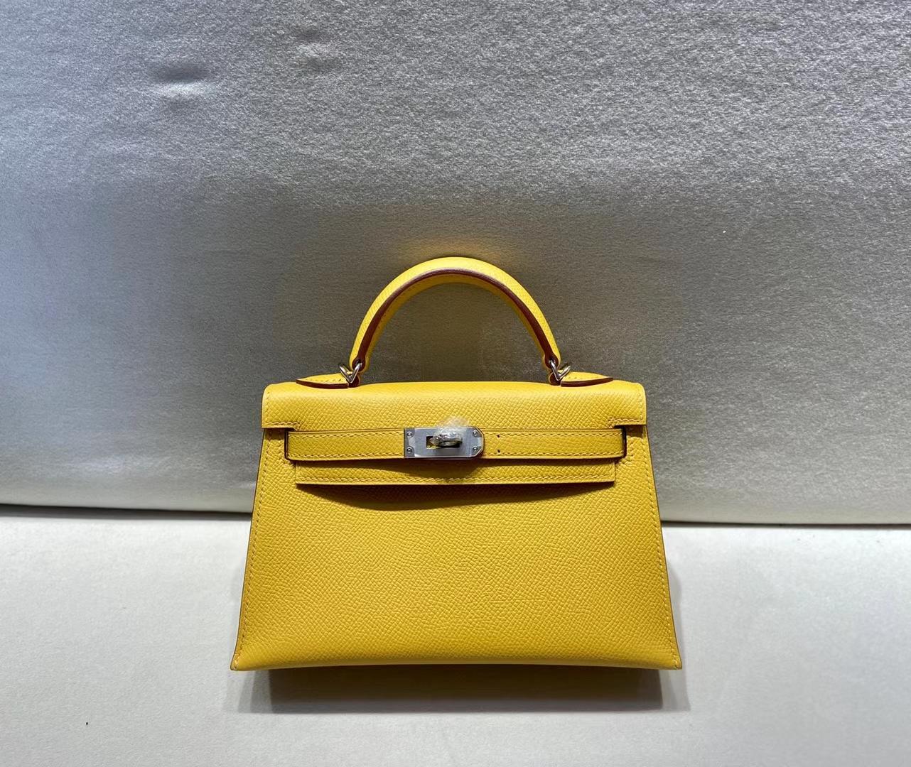 Hermès(爱马仕)miniKelly 二代 epsom 琥珀黄 银扣 顶级品质 现货