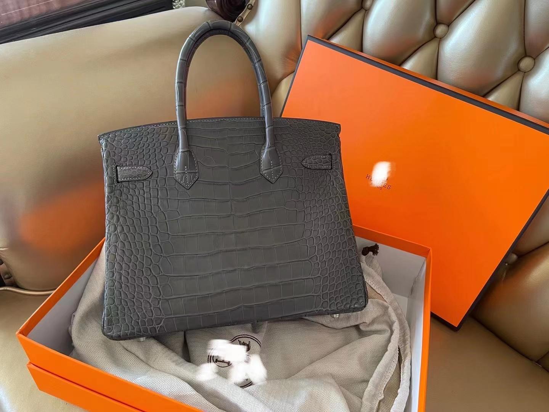 Hermès(爱马仕)birkin 30cm 银扣 雾面美洲鳄 石墨灰 顶级纯手工 新货