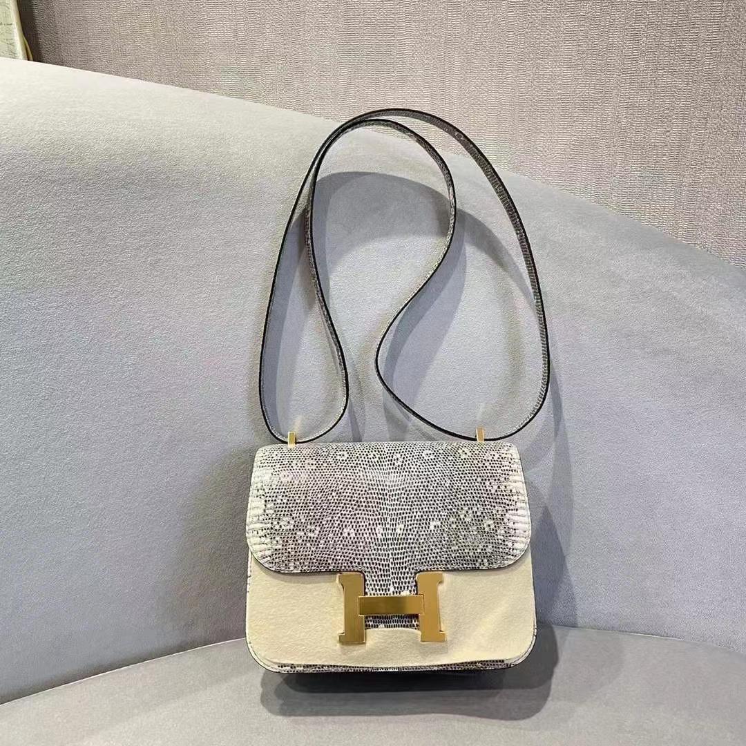 Hermès(爱马仕)constance 空姐包 蜥蜴皮 雪花色 顶级纯手工 19cm 金扣 现货