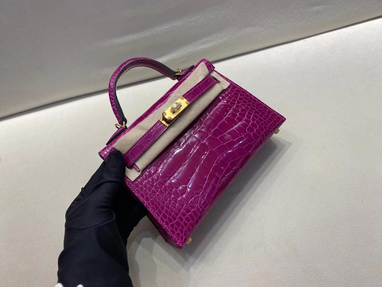 Hermès(爱马仕)miniKelly 二代 金扣 美洲鳄鱼皮 天方夜谭紫 顶级纯手工 现货