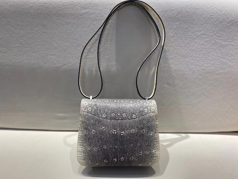 Hermès(爱马仕)Constance 19cm 银扣 蜥蜴皮 雪花色 顶级纯手工 现货