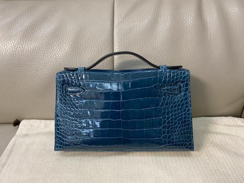 Hermès(爱马仕)miniKelly pochette 22cm  金扣 亮面鳄鱼 博斯普鲁斯绿 顶级纯手工 现货