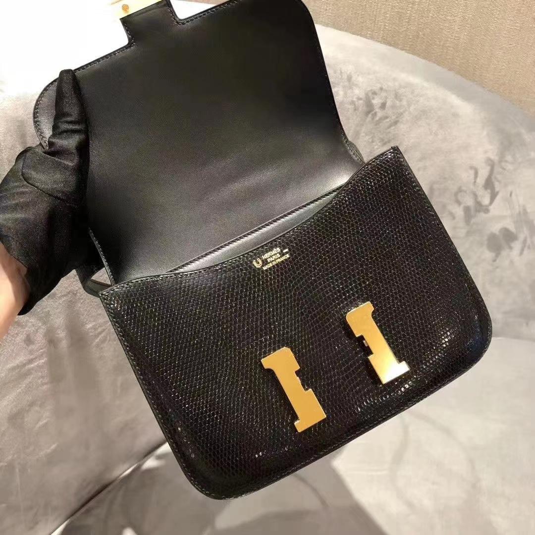 Hermès(爱马仕)constance 空姐包 蜥蜴皮 黑色 顶级纯手工 19cm 金扣 现货