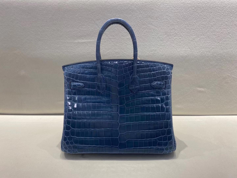 Hermès(爱马仕)Birkin 25cm 亮面两点鳄鱼 Shiny nilo crocodile CK75 牛仔蓝 现货