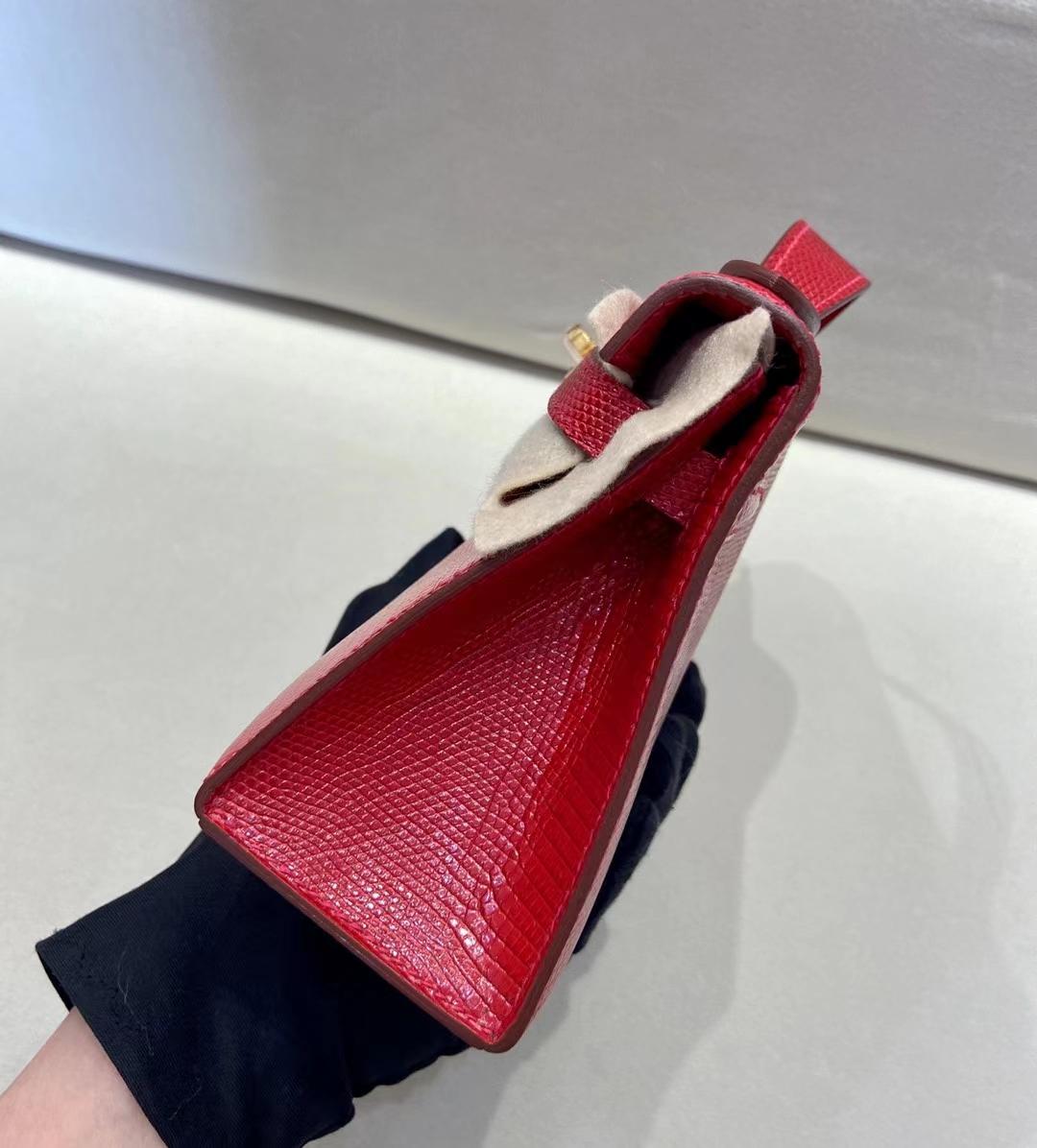 Hermès(爱马仕)miniKelly pochette 53正红 蜥蜴皮 金扣  22cm 顶级纯手工 现货