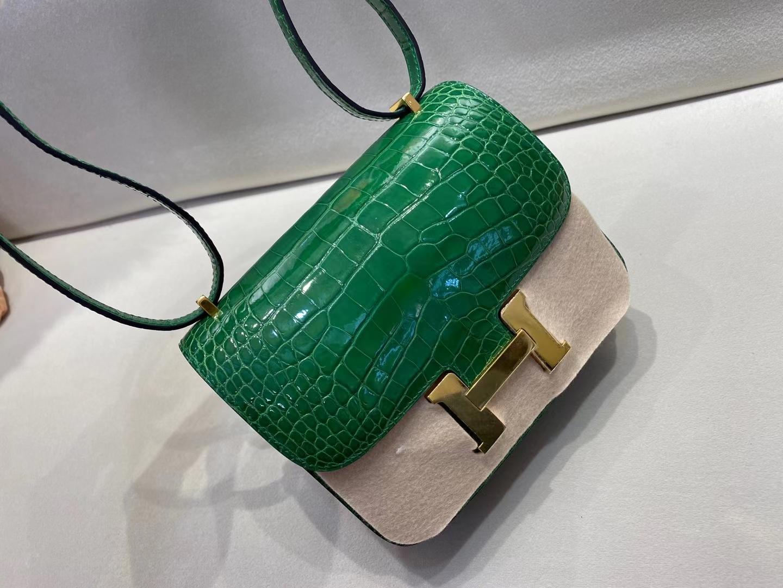 Hermès(爱马仕)Constance 19cm 金扣 亮面美洲鳄鱼 仙人掌绿 顶级纯手工 定制