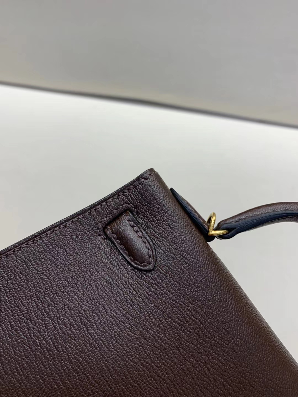 Hermès(爱马仕)miniKelly 二代 金扣 山羊皮 乌木色拼橙色 顶级纯手工 现货