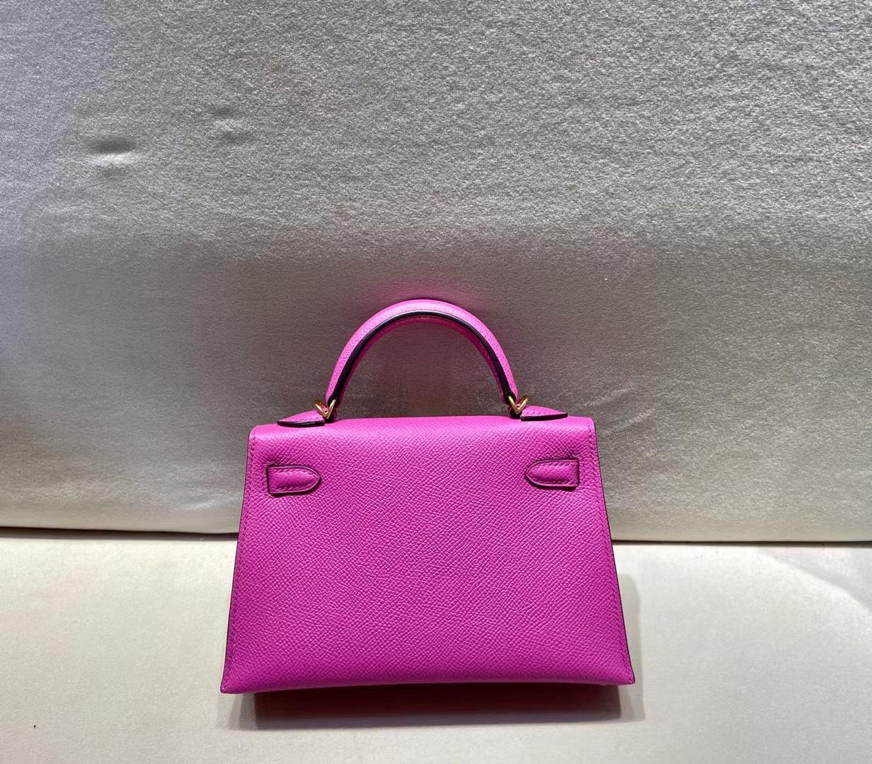 Hermès(爱马仕)miniKelly 二代 epsom 玉兰花粉 9i 金扣 顶级品质 现货