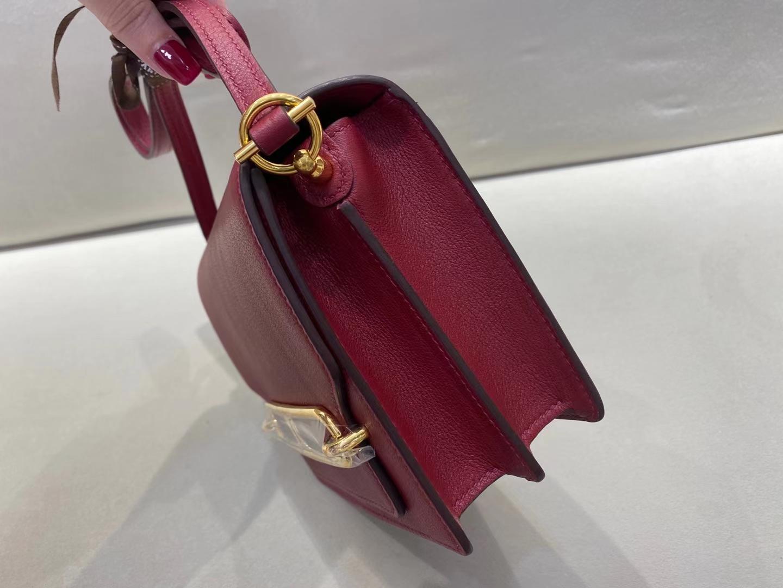 Hermès(爱马仕)Mini Roulis 猪鼻子 evercolor 宝石红 顶级纯手工 19cm 金扣