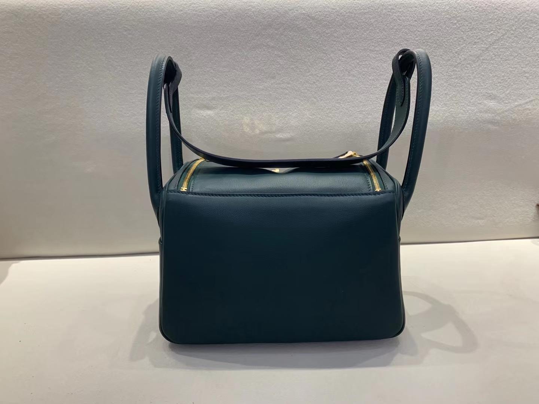 Hermès(爱马仕)Lindy 琳迪包 松柏绿 swift 顶级纯手工 金扣 26cm 现货