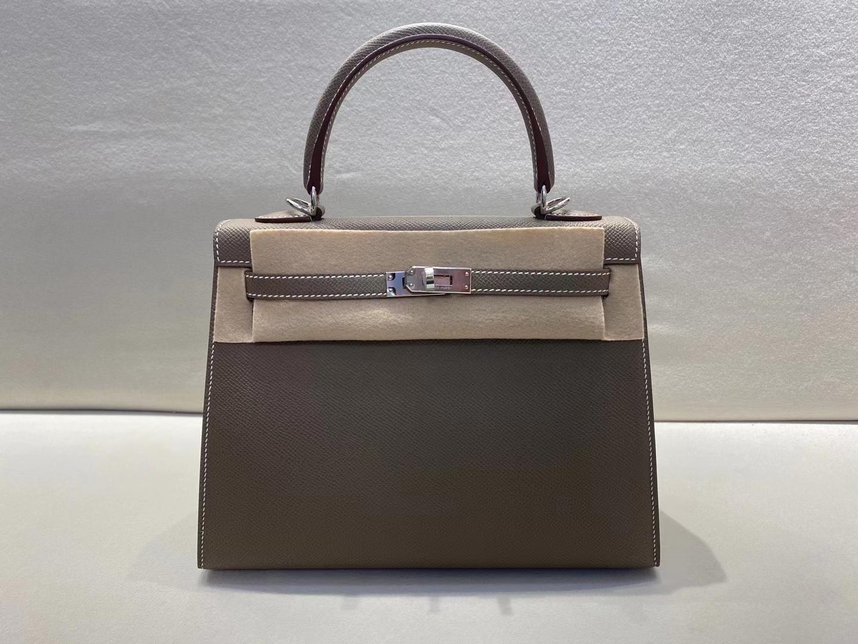 Hermès(爱马仕)Kelly 25cm 银扣 epsom 大象灰 顶级纯手工 现货