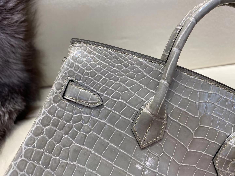 Hermès(爱马仕)birkin 铂金包 亮面湾鳄 倒V 斑鸠灰 金扣 25cm 现货