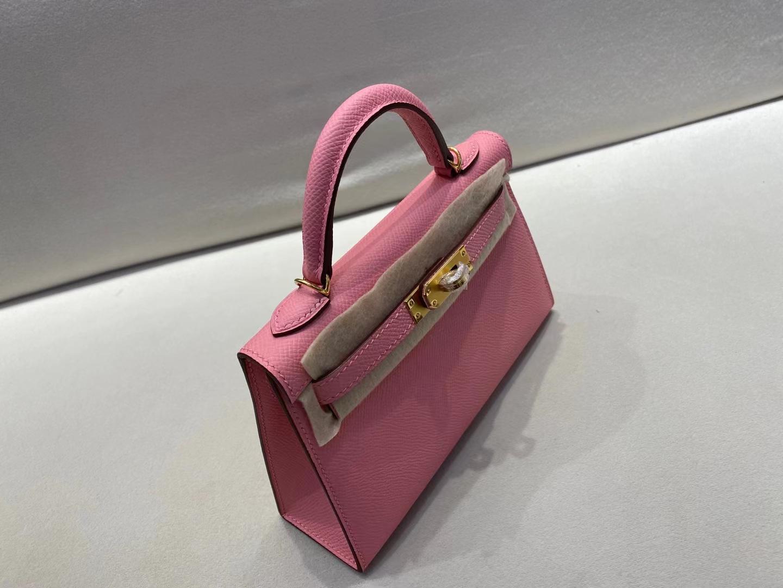 Hermès(爱马仕)miniKelly 二代 金扣 epsom 3Q 彩纸粉 顶级纯手工 现货