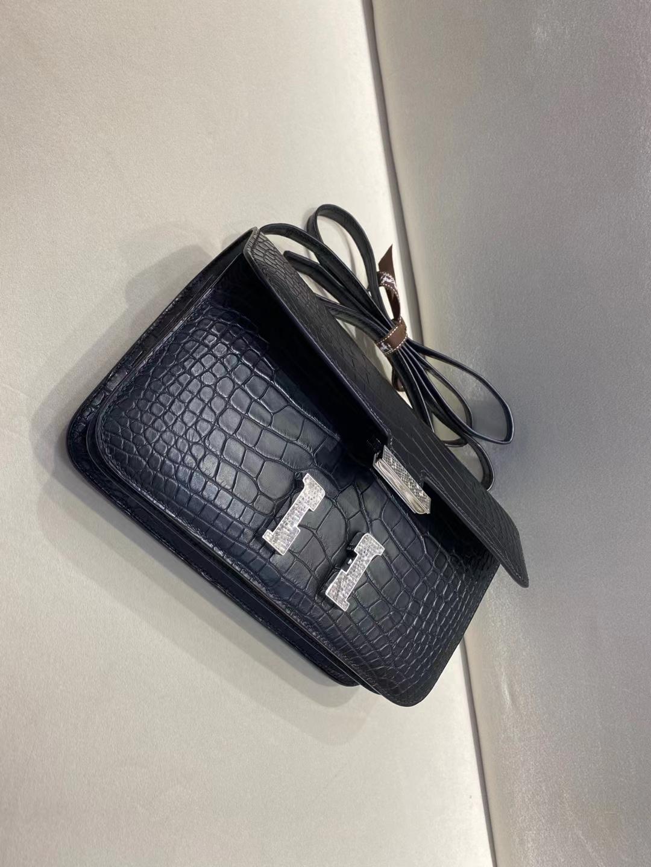 Hermès(爱马仕)constance 26cm 蜥蜴扣 雾面鳄鱼 黑色 顶级纯手工 现货