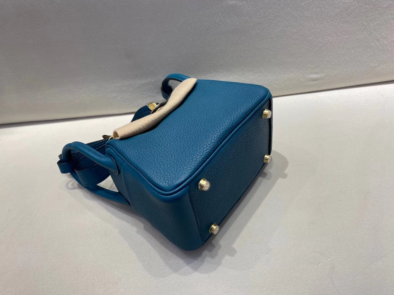 Hermès(爱马仕)mini Lindy 19cm 金扣 TC 博斯普鲁斯海峡绿 顶级纯手工 现货