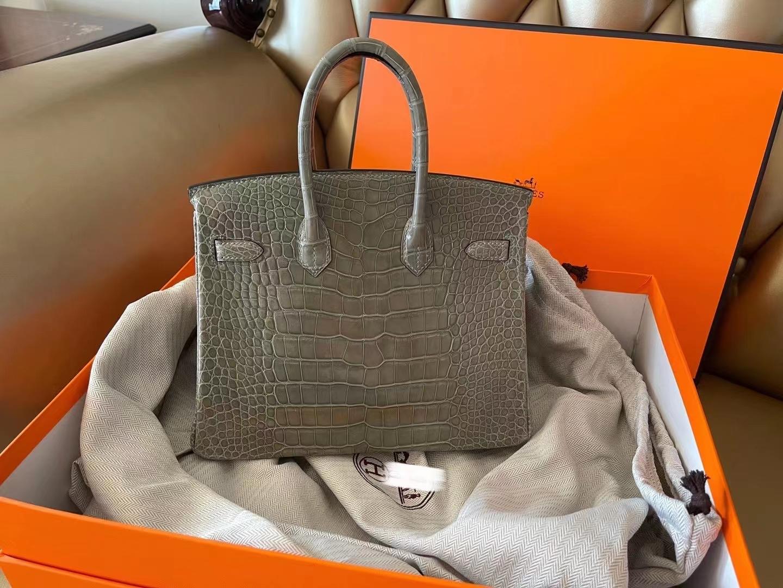Hermès(爱马仕)birkin 25cm 金扣 斑鸠灰 亮面美洲鳄鱼皮 顶级纯手工 现货