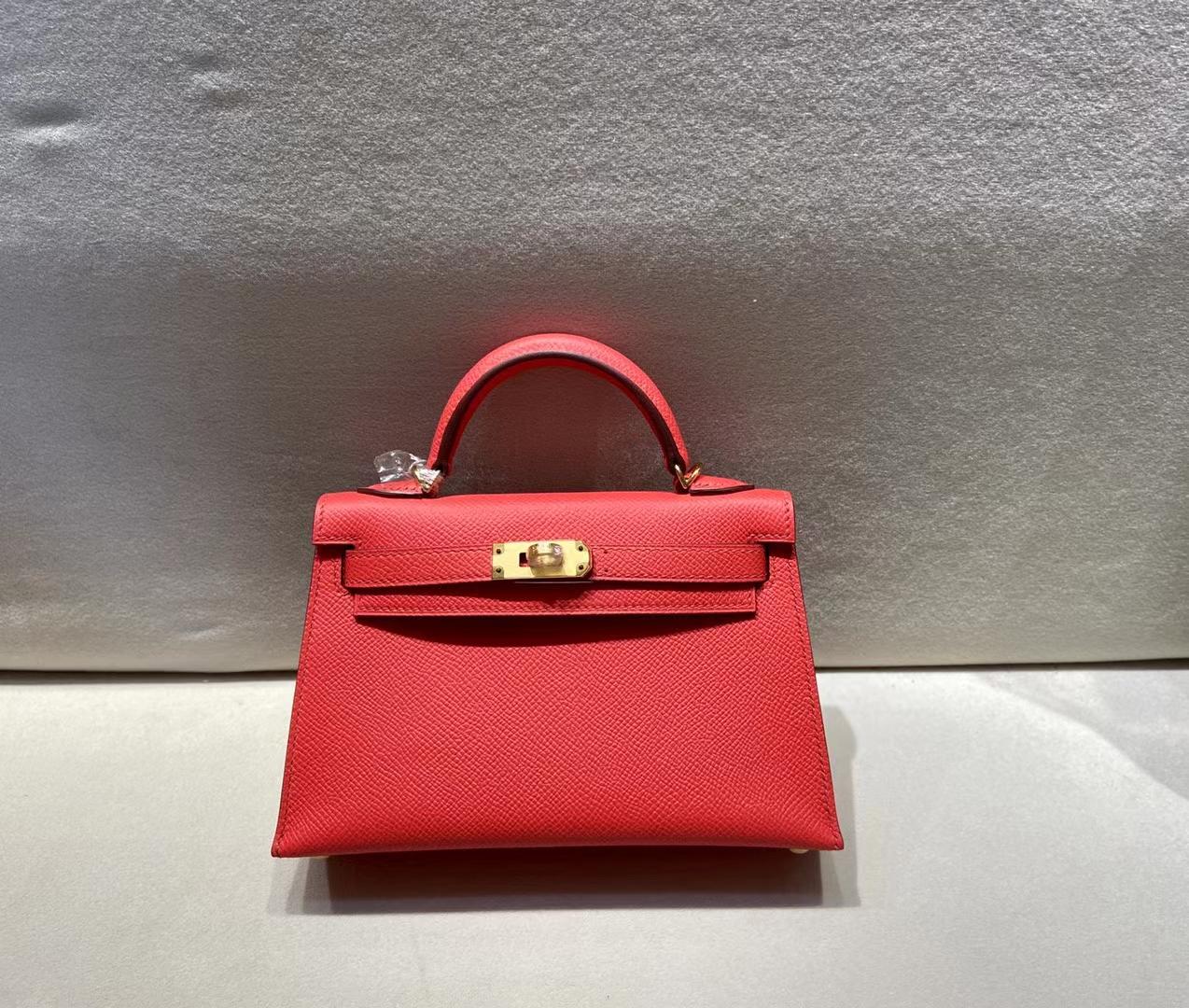 Hermès(爱马仕)miniKelly 二代 epsom 53正红 金扣 顶级品质 现货