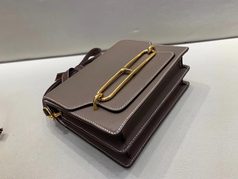 Hermès(爱马仕)Mini Roulis 猪鼻子 evercolor 大象灰 顶级纯手工 金扣 19cm