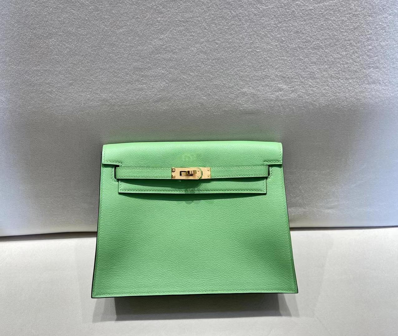 Hermès(爱马仕)Danse 跳舞包 evercolor 牛油果绿 顶级纯手工