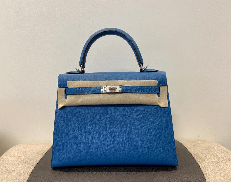 Hermès(爱马仕)Kelly 25cm 银扣 epsom 坦桑尼亚蓝 顶级纯手工