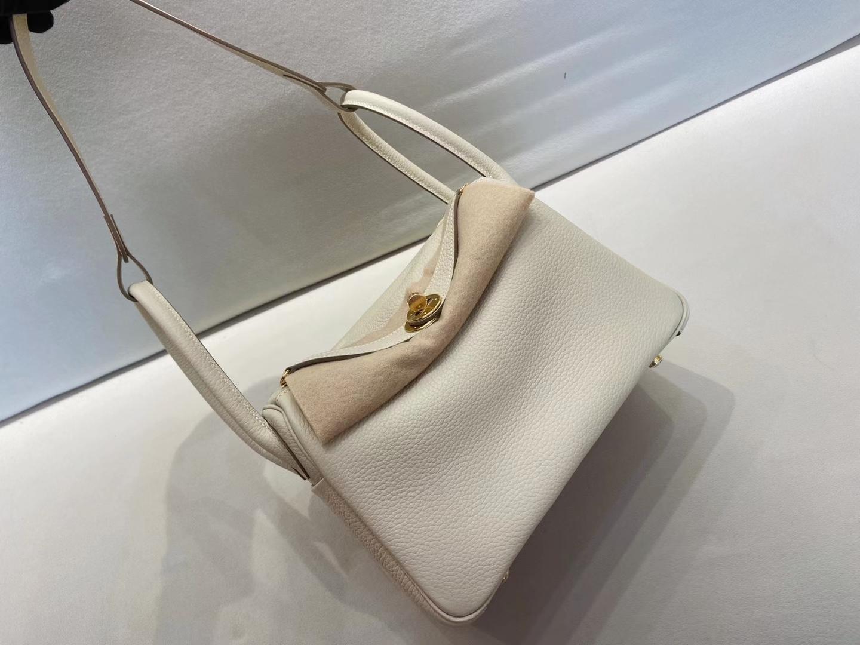 Hermès(爱马仕)Lindy 26cm 金扣 TC 奶昔白 顶级工艺 现货