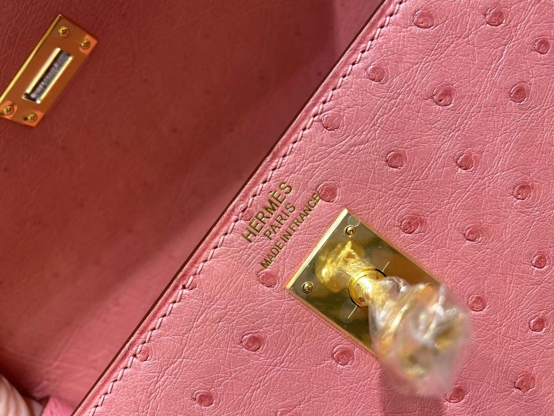 Hermès(爱马仕)Kelly 25cm 金扣 鸵鸟皮 泡泡糖粉 顶级纯手工 现货